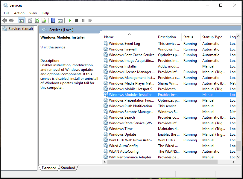 """Updated """"Windows Resource Protection could not start the repair service."""""""